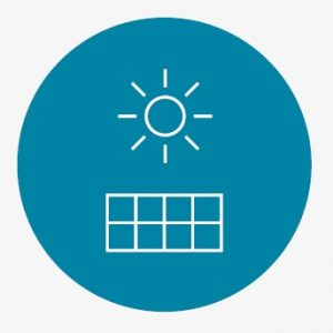 A graphic of a sun and a solar panel