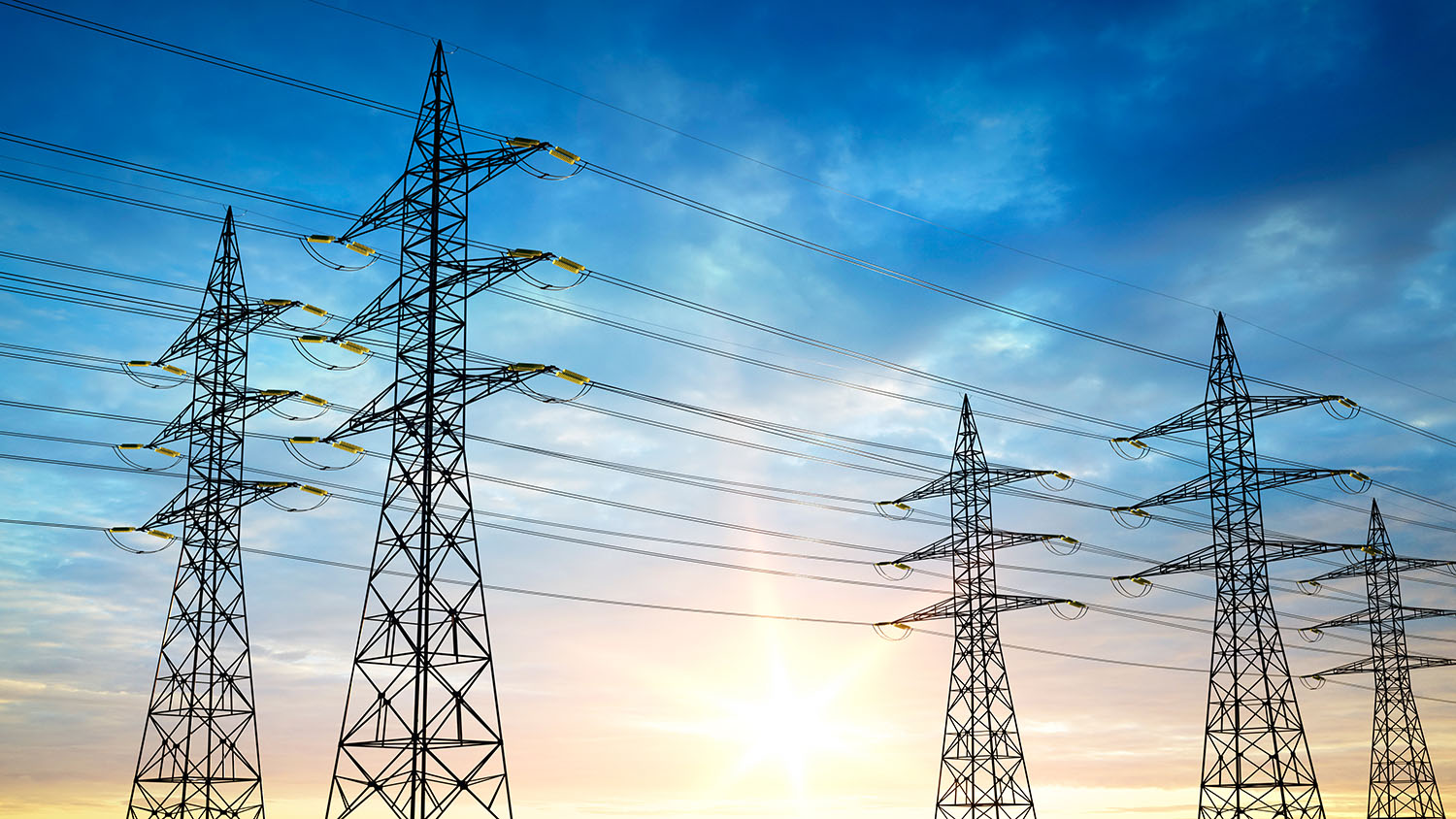 Pylons in front of a sunny and blue sky