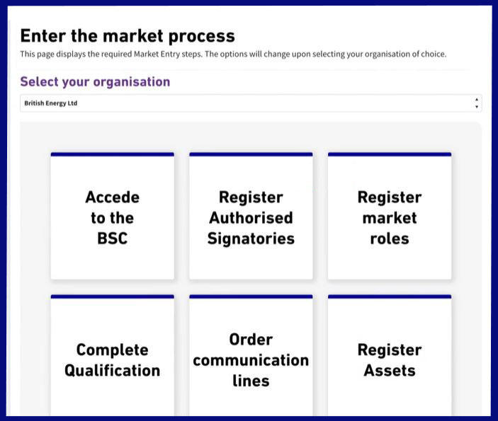 Elexon Kinnect 'mark entry' dashboard. The dashboard features the following tasks: Acede to the BSC, Register Authorised Signatories, Register Market roles, Complete Qualification. Order communication lines, register assets