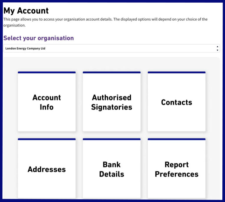 Elexon Kinnect 'My account' dashboard. The dashboard features the following options: Select your organisation, authorised signatories, contacts, addresses, my ascension details and report preferences