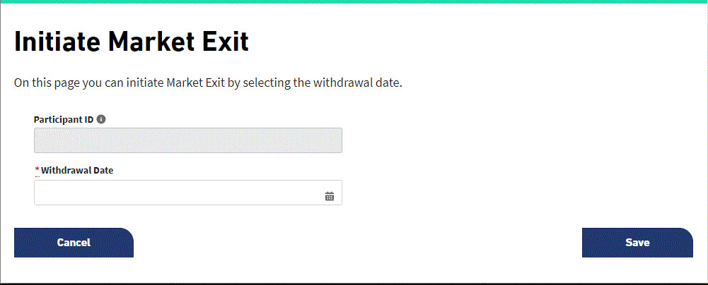 Elexon Kinnect Customer Solution showing the Initiate Market Exit page