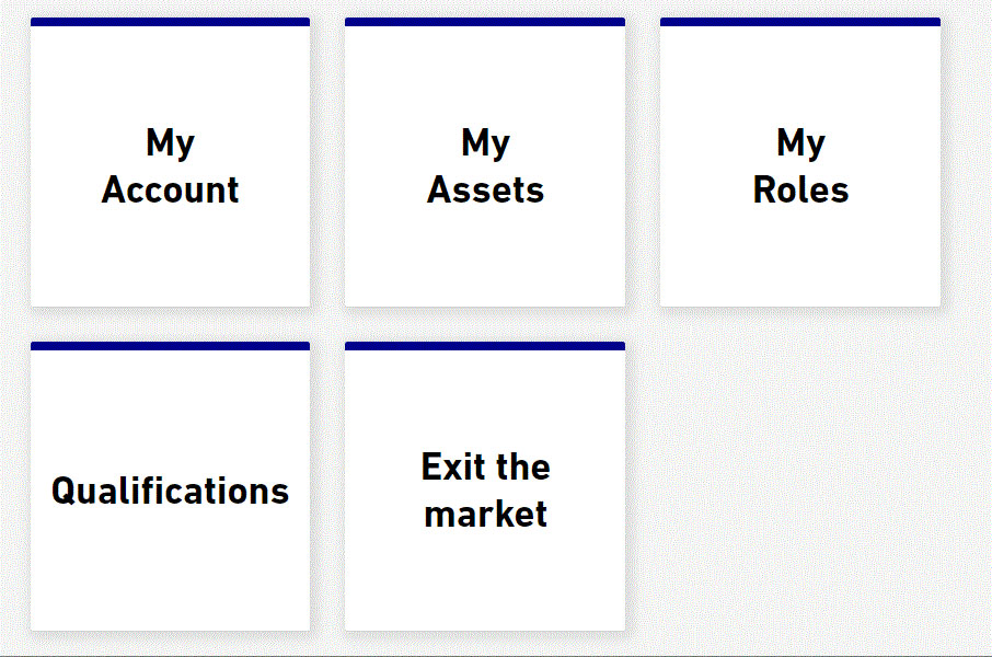 Elexon Kinnect Customer Solution tiles, including Exit the Market tile