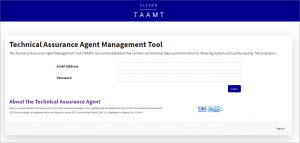 Technical Assurance Agent Management Tool (TAAMT) log in screen